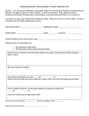 Bullying/harassment parent/guardian or teacher reporting form page 1 preview