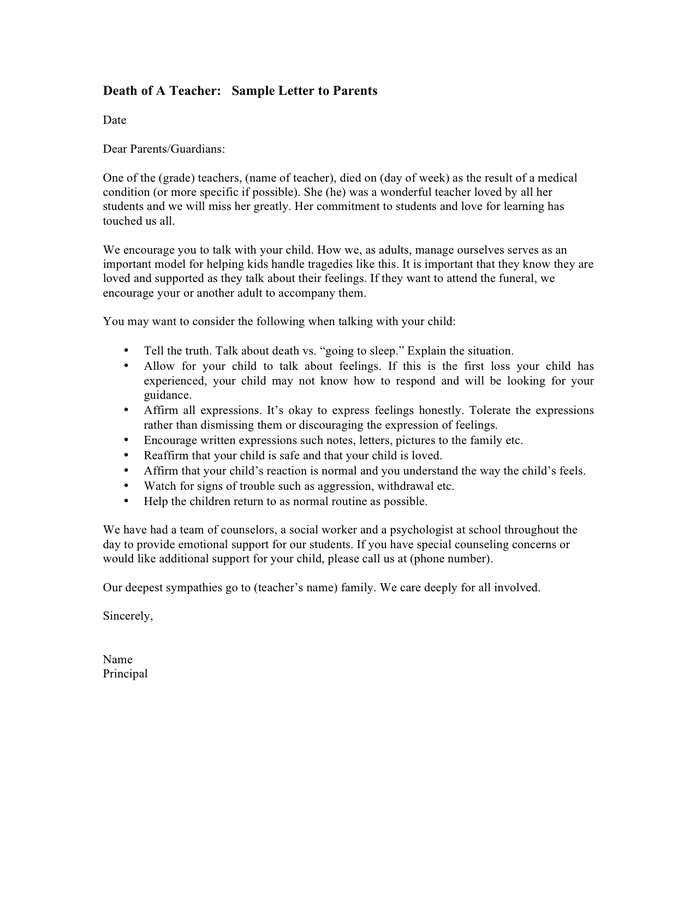 sample letter to parents from teacher about behavior parent conference forms free documents 24643 | death of a teacher sample letter to parents 1