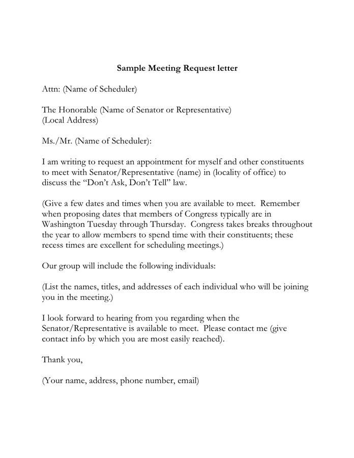 sample meeting request letter in word and pdf formats
