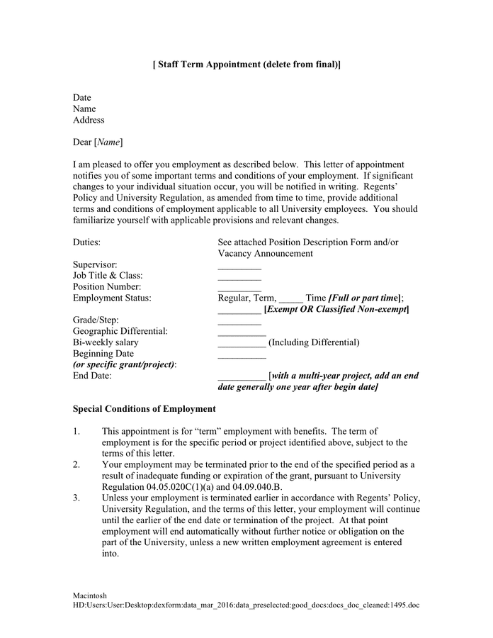Staff Term Appointment Letter page 1