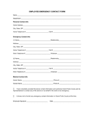 Employee emergency contact form page 1 preview