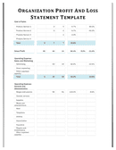 Organization profit and loss template page 1 preview