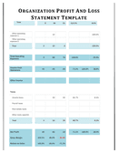 Organization profit and loss template page 2 preview