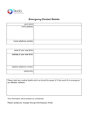 Emergency contact form page 1 preview