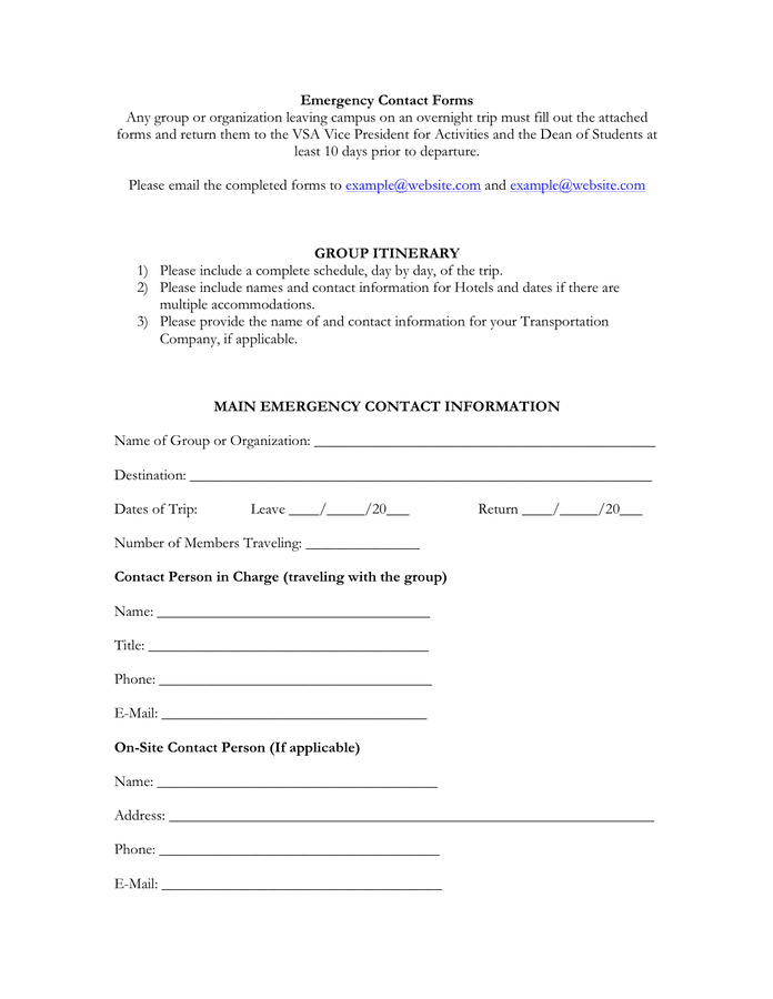 University emergency contact form preview