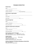 Student Emergency Contact Form page 1 preview