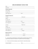 Employee and emergency contact form page 1 preview