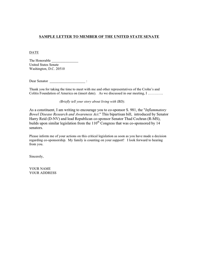 Sample Letter To Member Of The House