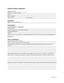 Sample volunteer application template page 1 preview
