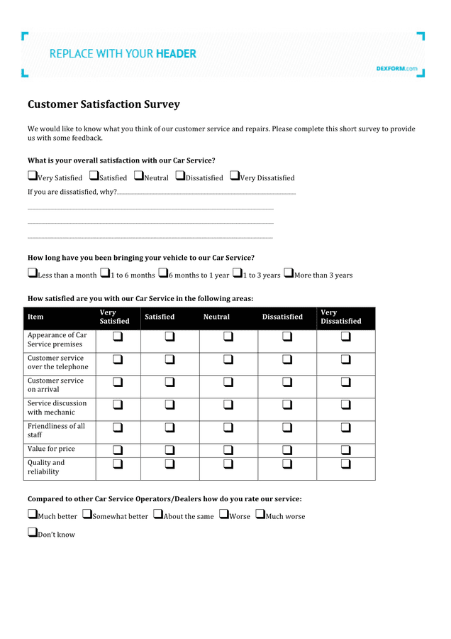 Car service customer satisfaction survey preview