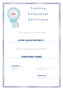 Training completion certificate template page 1 preview