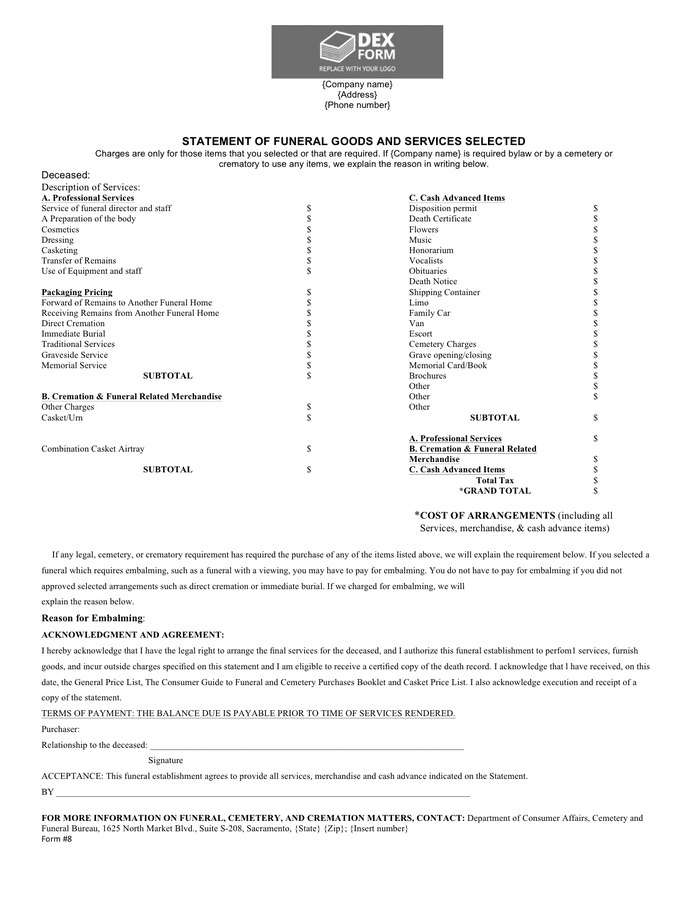 Funeral billing statement template preview