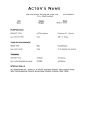 Simple acting resume template page 1 preview
