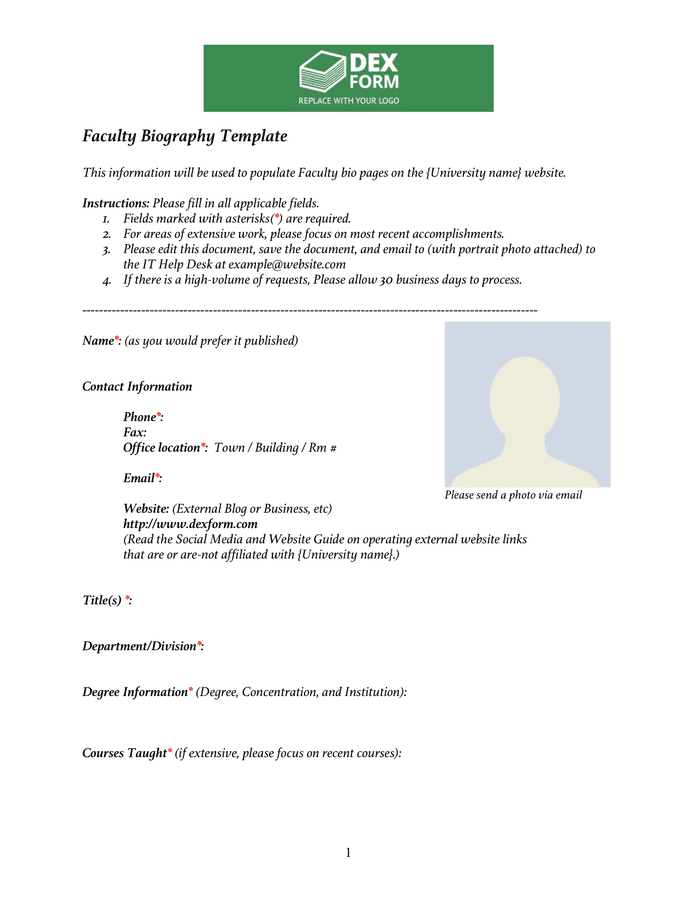 Faculty biography template preview