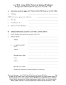 Last Will, Living Will & Powers of Attorney Worksheet page 1 preview