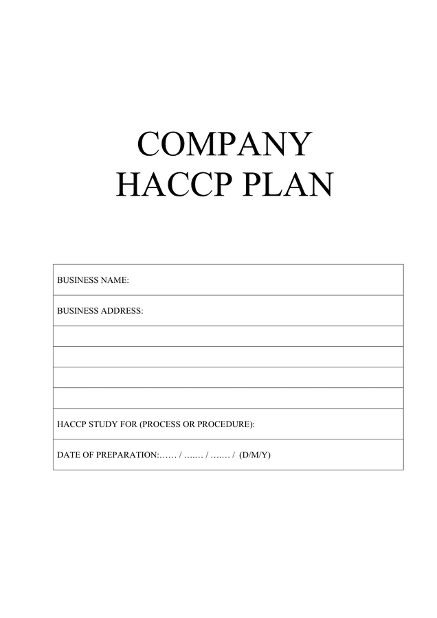 Company HACCP plan (UK) preview