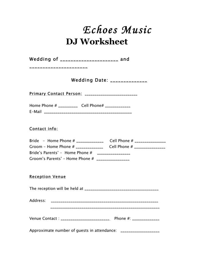 wedding dj schedule template