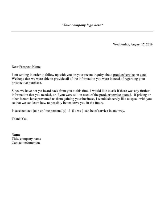 Follow Up Letter Sample - download free documents for PDF ...