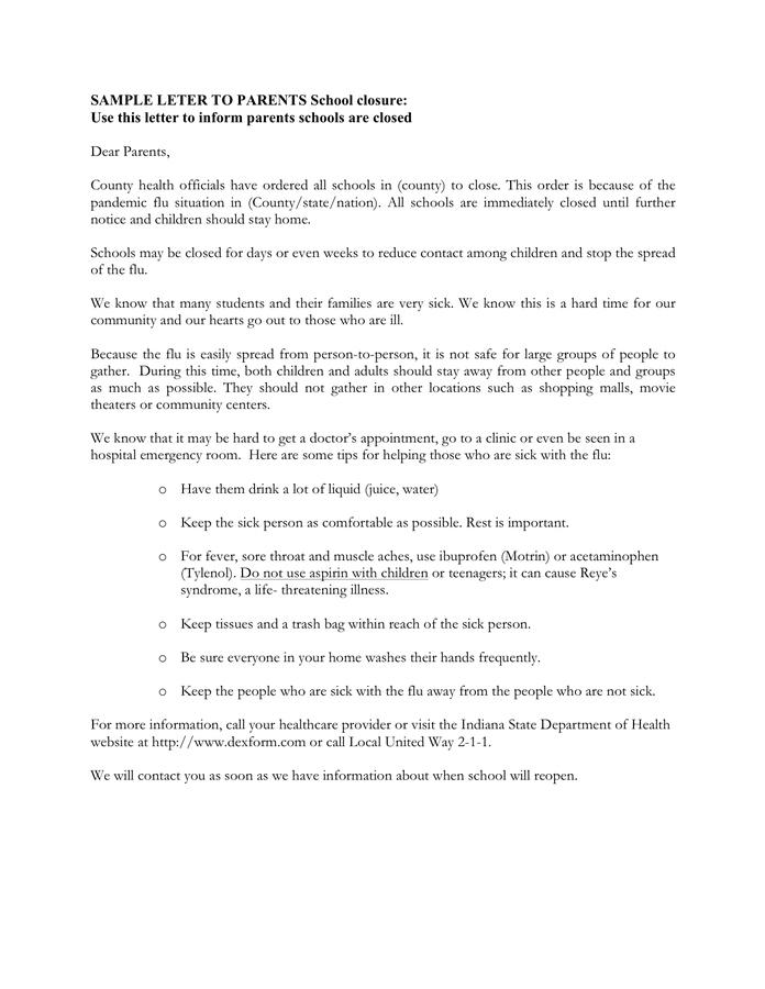 Sample letter to parents school closure page 1