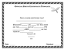 Official birth certificate template page 1 preview