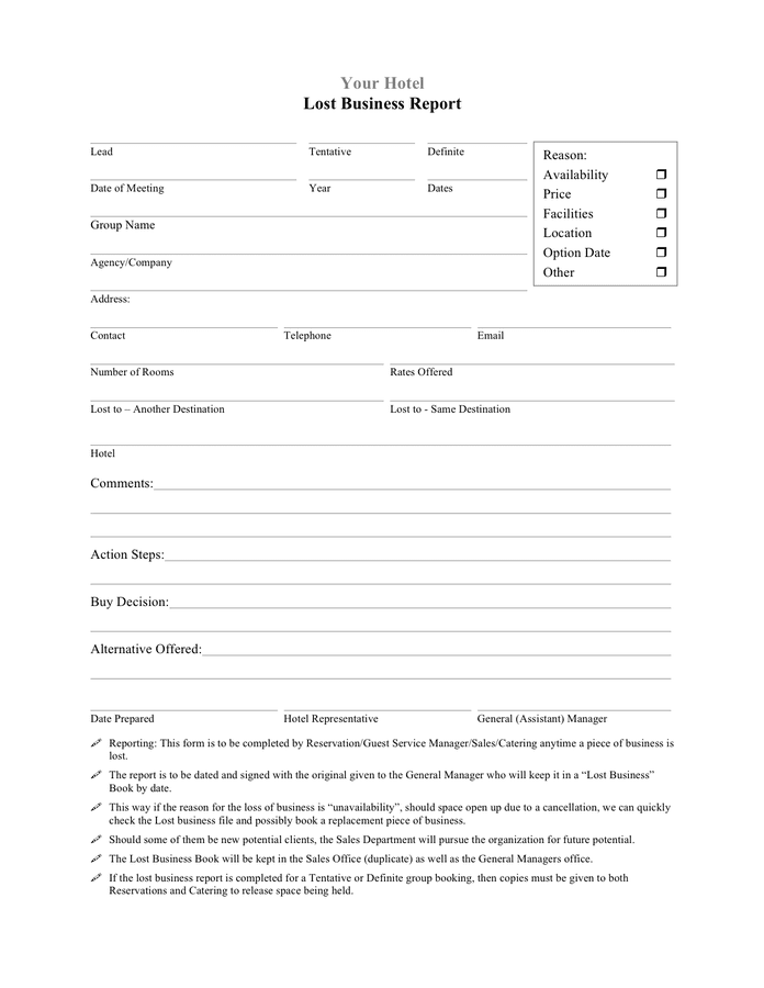 Hotel lost business report template preview