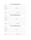 Petty cash request form page 1 preview