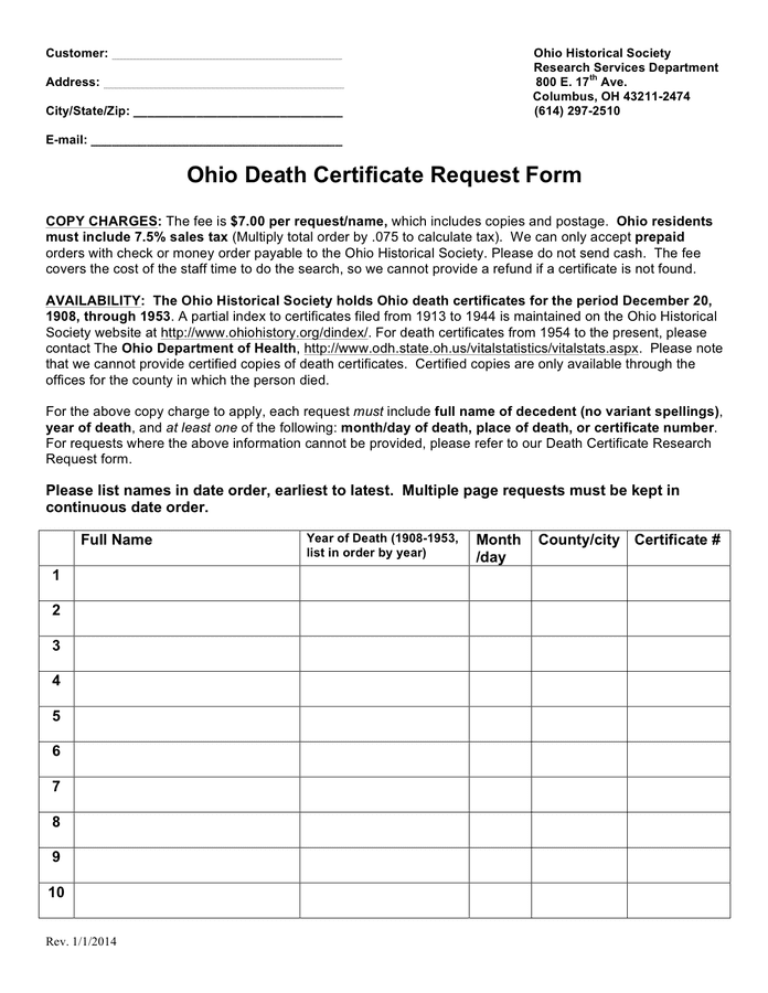 Death certificate request form (Ohio) preview