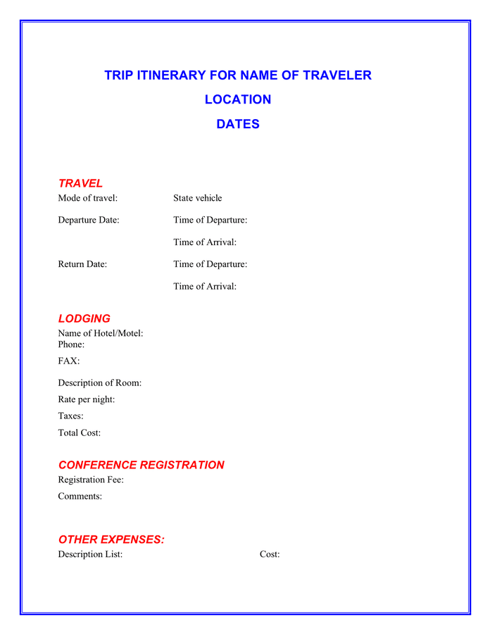 Trip itinerary template preview
