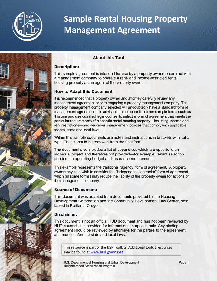 Rental Housing Property Management Agreement page 1