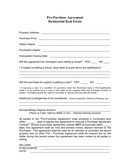 Real estate pre-purchase agreement page 1 preview