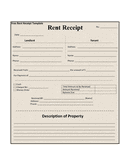 Rent receipt template page 1 preview