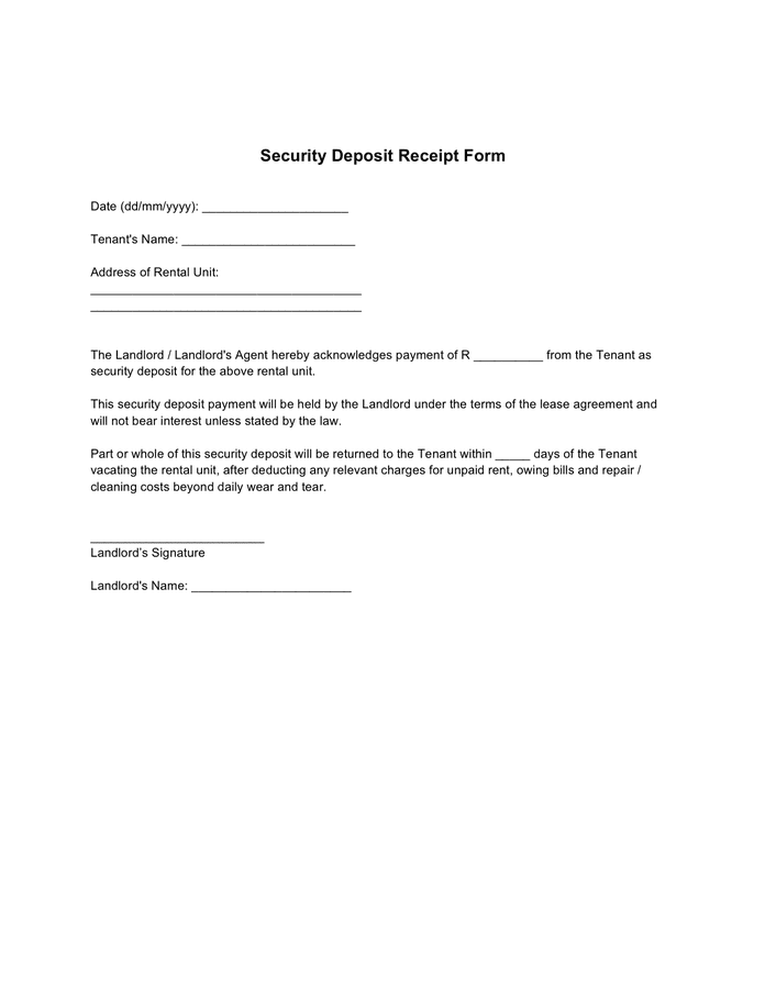 Security Deposit Receipt Form In Word And Pdf Formats