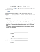 Receipt for holding fee template page 1 preview
