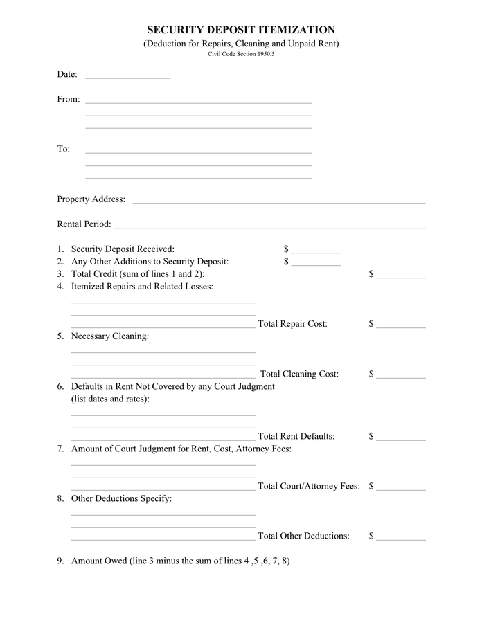 Security deposit itemization form in Word and Pdf formats – Rental Deposit Form