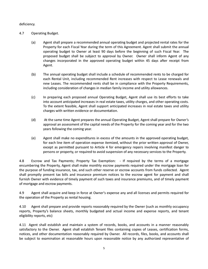 Property Management Agreement page 5