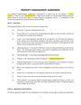 Property Management Agreement page 1