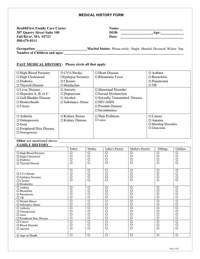 Medical History Form Sample