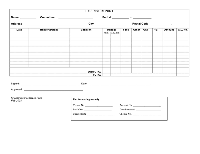 Expense report form preview