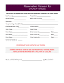 Reservation request for church vehicle form page 1 preview
