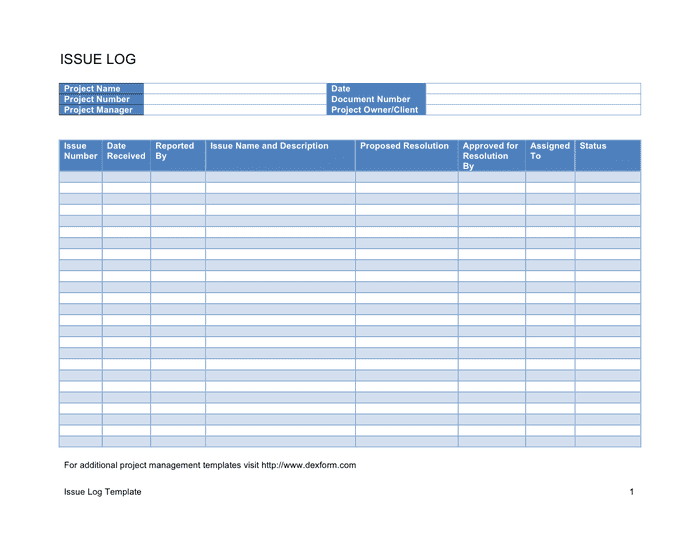 Issue log template in Word and Pdf formats