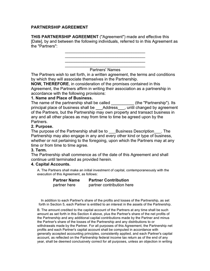 Agreement of limited partnership page 1