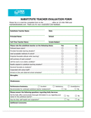 Substitute teacher evaluation form page 1 preview