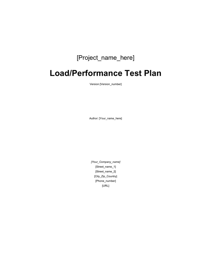 Load test plan template preview