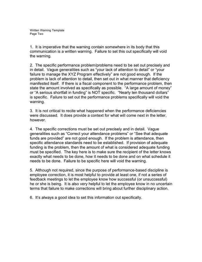 Warning Letter Format For Poor Performance from static.dexform.com