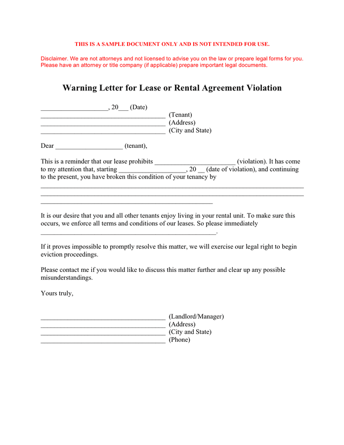 Warning Letter To Tenants from static.dexform.com
