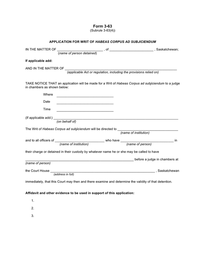 Application for writ of habeas corpus ad subjiciendum (Canada) preview