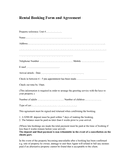Rental booking form and agreement page 1 preview