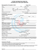 Patient information form for pulmonology & sleep services page 1 preview