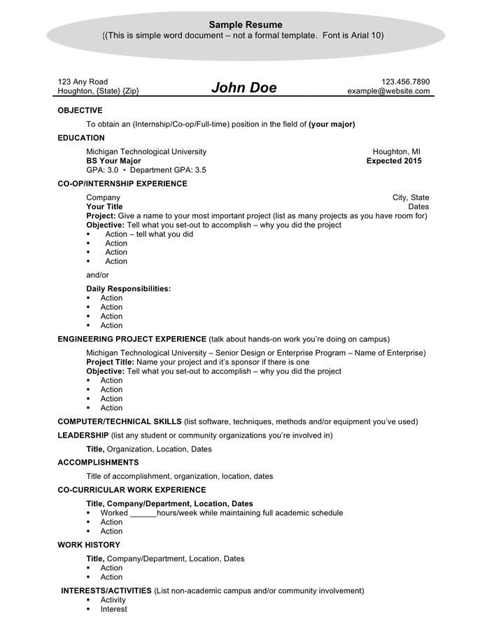 General resume template preview