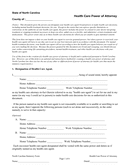 Health care power of attorney form (North Carolina) page 1 preview